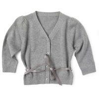 Cardigan de punta para niña con cinturón. Moda Infantil