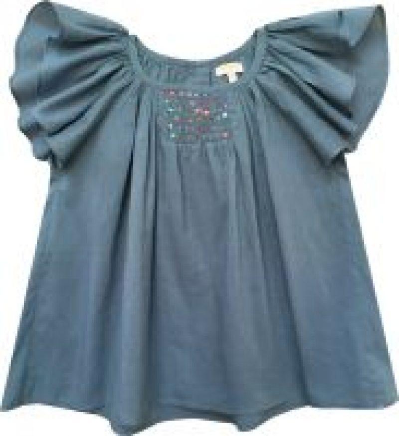 Blusa de voile con mangas de mariposa de Moon Paris