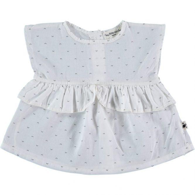 My Little Cozmo preciosa blusa estampada sin mangas blanco roto