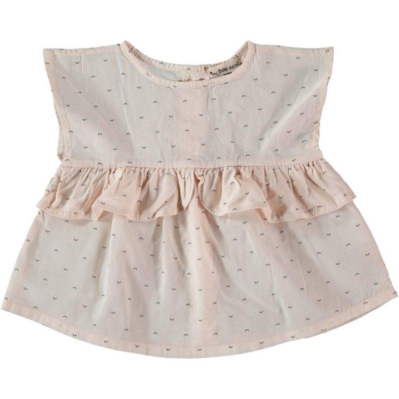 My Little Cozmo preciosa blusa estampada sin mangas rosa pálido