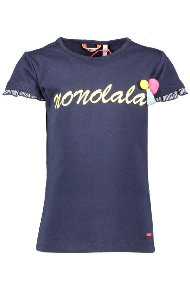 NONO Camiseta de manga corta en marino con pompones