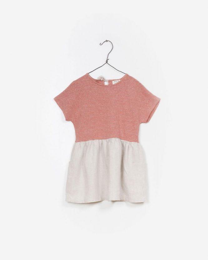 Play Up Vestido combinado en lino y algodón