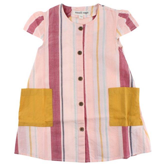 Small Rags Vestido de rayas de manga corta