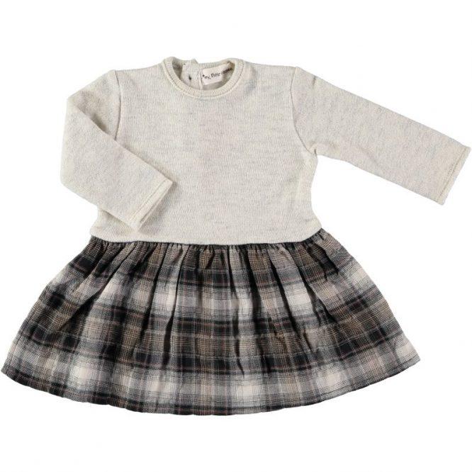 My Little Cozmo vestido con combinación de tejidos