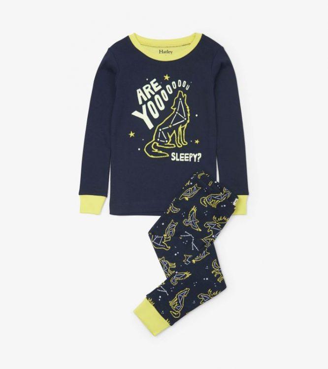 Hatley pijama estampado de algodón orgánico con brillo en la oscuridad