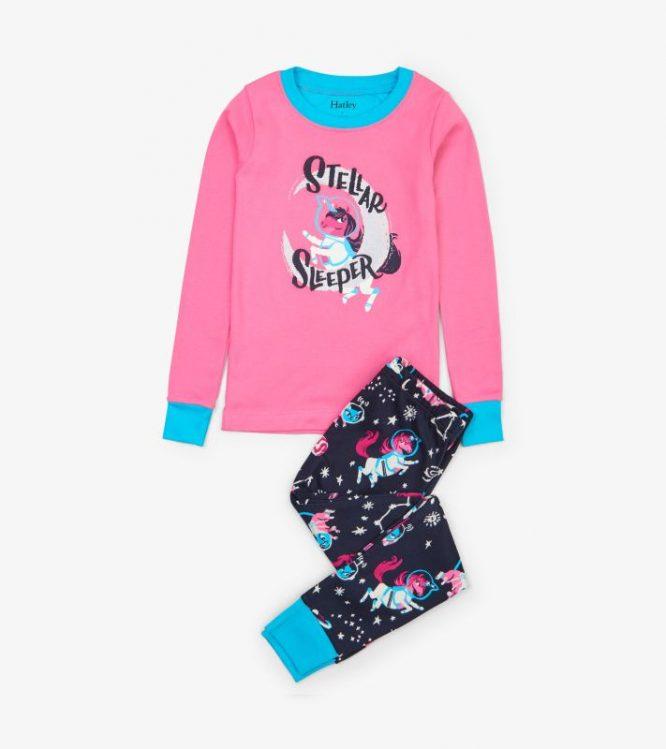 Hatley pijama de unicornios en algodón orgánico con brillo en la oscuridad