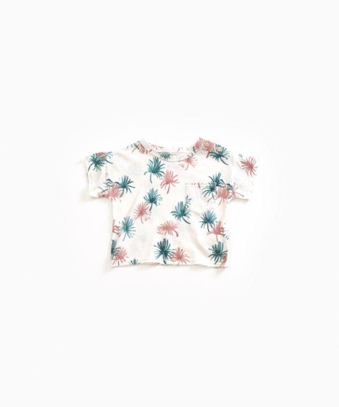 Play Up Camiseta estampada en algodón orgánico y lino