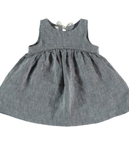 My Little Cozmo Vestido de lino para bebé - delante