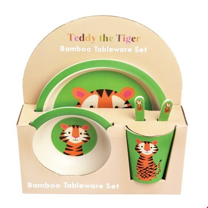 Rex Londón Vajilla de bambú con Teddy el Tigre