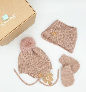 Conjunto de gorro, bufanda y cuello para bebé de Monnuage