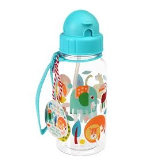 Botella reutilizable de agua con cañita para niños