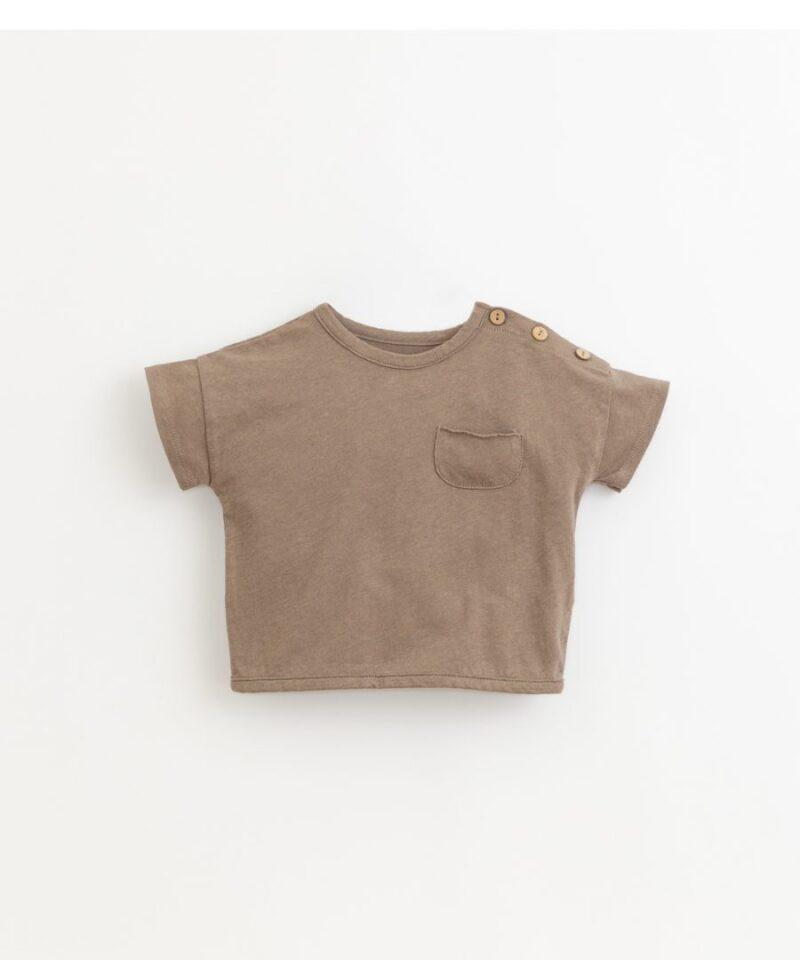 Camiseta de algodón y lino de Play Up en color visón