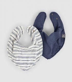 Juego de baberos azules en algodón orgánico de la marca Snug