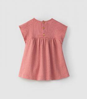 Vestido rosa de algodón orgánico de Snug - detrás